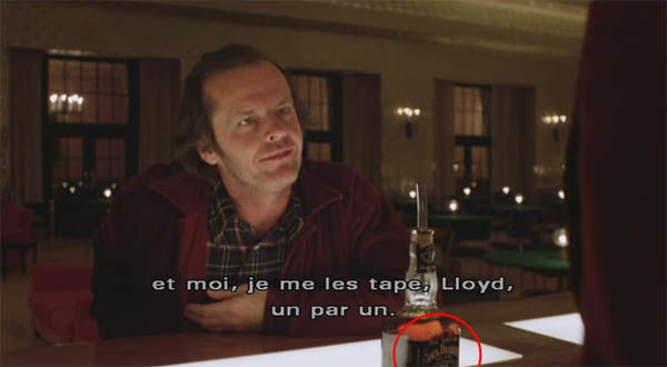 Product placement Jack Daniels in The Shining