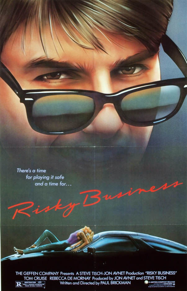 Rayban on the e de Risky Business poster