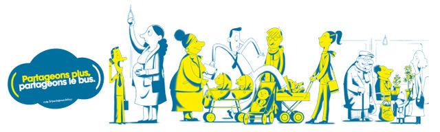 La nouvelle affiche de la RATP : Partageons plus, parageons le bus