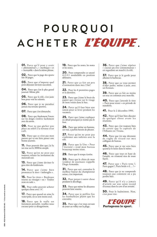 50 bonnes raisons de lire l'Equipe