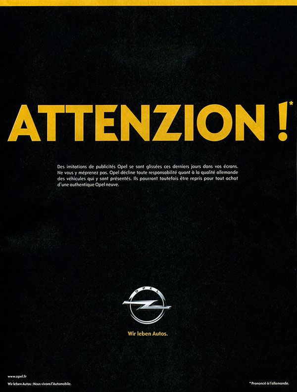 affiche opel attention aux imitations allemandes