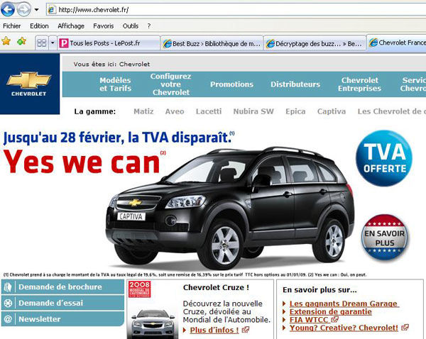 pub Barack Obama yes we can chevrolet