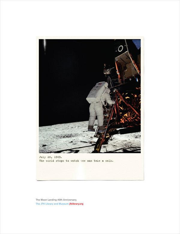 publicité homme sur la Lune JFK Library