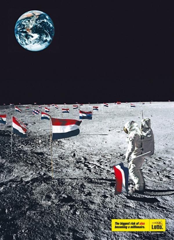 publicité homme sur la Lune Lotto