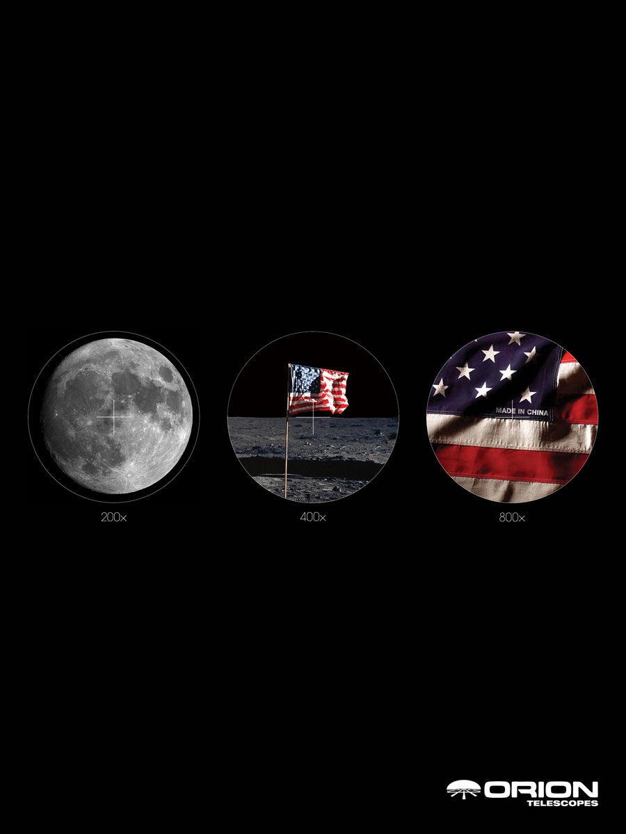 publicité homme sur la Lune Orion Telescopes