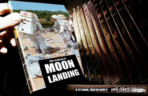 publicité homme sur la Lune eX Alek Dvd video club
