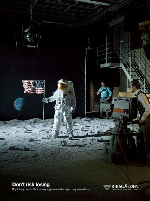 publicité homme sur la Lune RIKSGALDEN