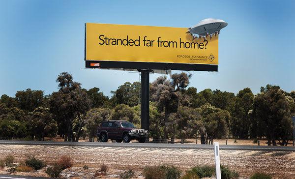 publicité ovni RAC Roadside Assistance