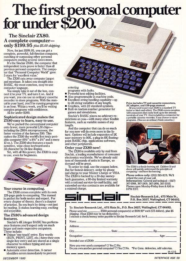 pub console ZX80 Sinclair