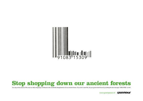 publicité code-barres greenpeace
