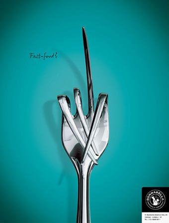 publicité doigt d'honneur Donna Bell Restaurant