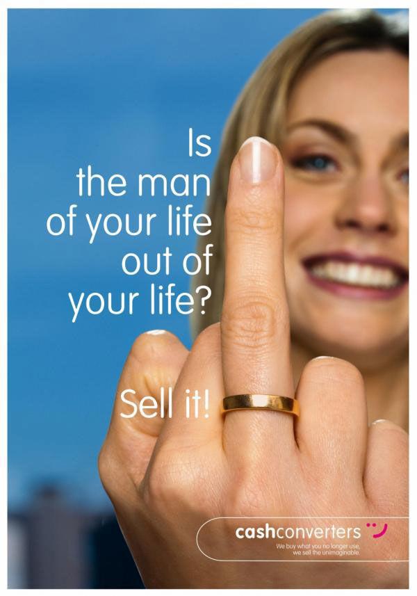 publicité doigt d'honneur Cash Converters