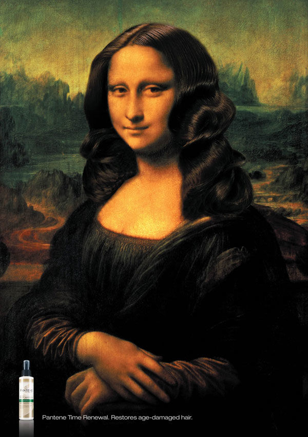 Publicité Mona Lisa Pantene