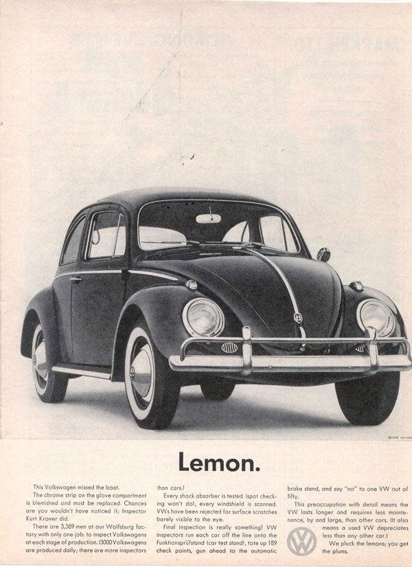 Publicité Volkswagen lemon