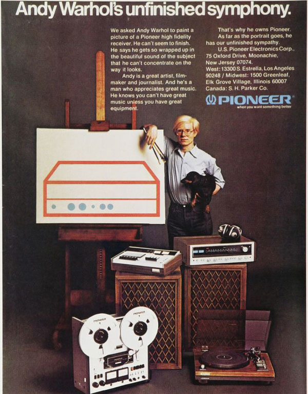 publicité pop art Warhol Pionner