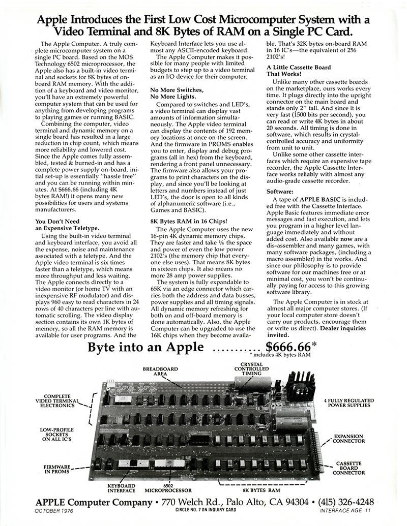 1ère publicité Apple I 1976