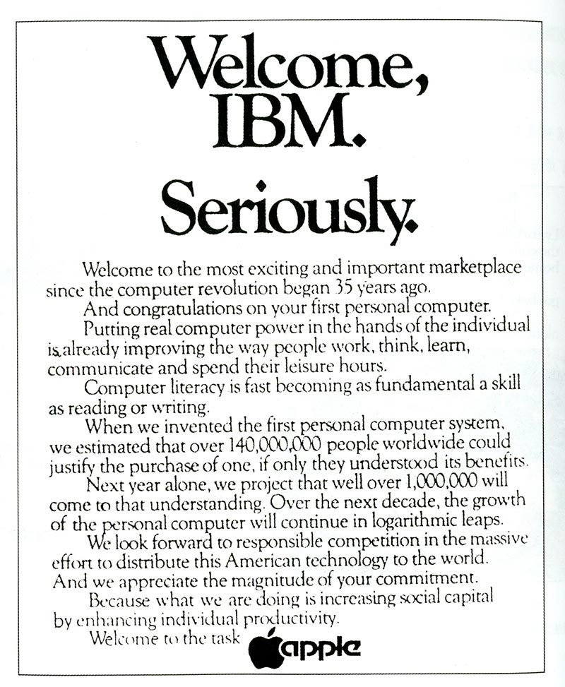 publicité Apple Welcome IBM seriously