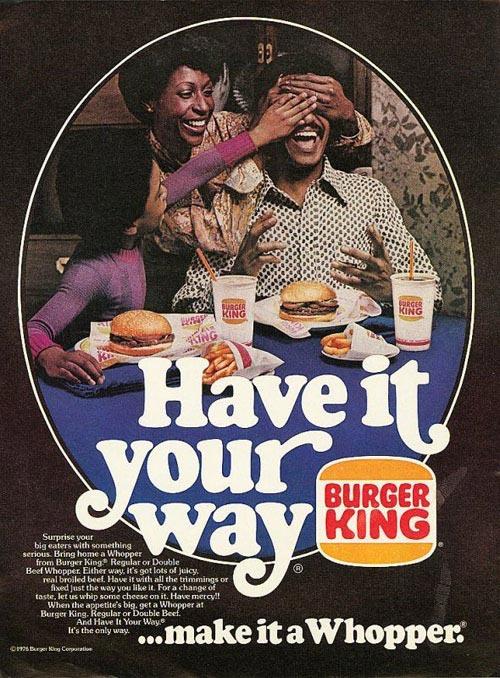 pub burger king 70's avec des noirs