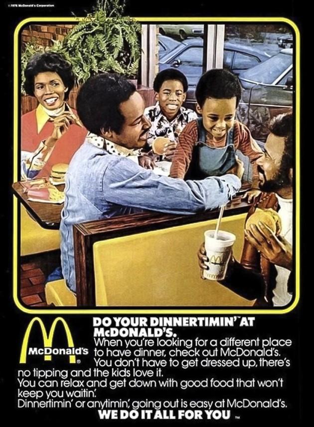 pub mcdonald's 1976 avec des noirs