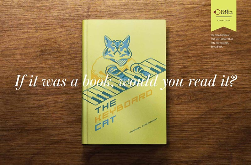 publicité mème keyboard cat Café com Letras