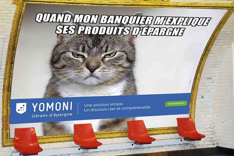 publicité mème Yomoni lolcat