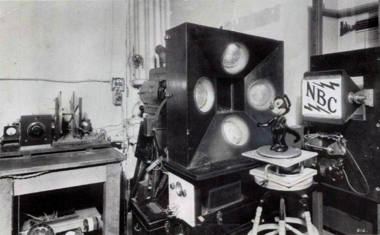 Félix le Chat, utilisé pour les expériences de retransmission de la WNBC en 1928