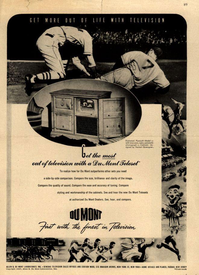 publicité télévision Dumont 1946