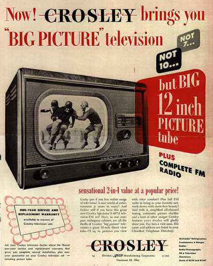 publicité télévision Crosley années 40