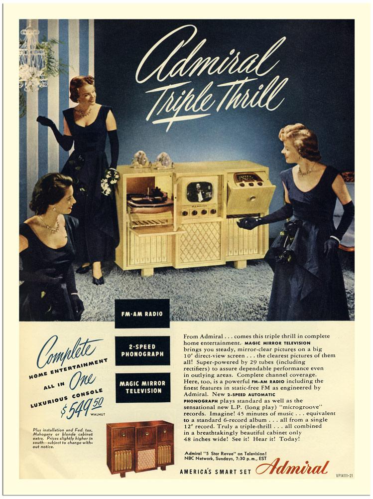 publicité télévision Admiral triple play années 40