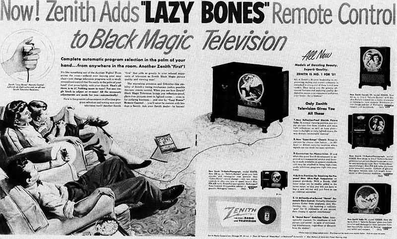 publicité telecommande Zenith Lazy Bones
