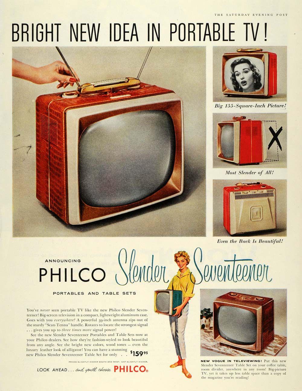 publicité télévision Philco Slender Seventeener 1957