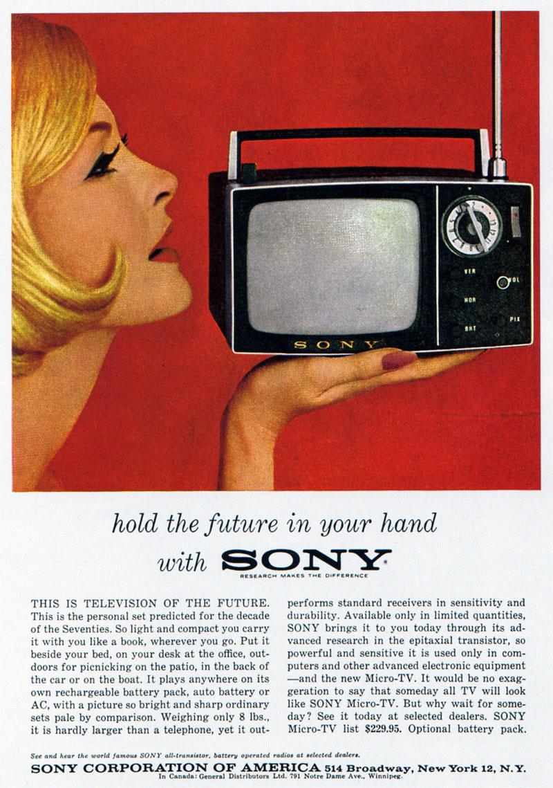 publicité télévision portable Sony 8-301W 1960